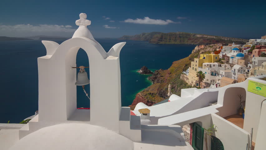 Sunny day santorini island oia town bell coastline panorama 4k timelapse greece | Shutterstock HD Video #33708250