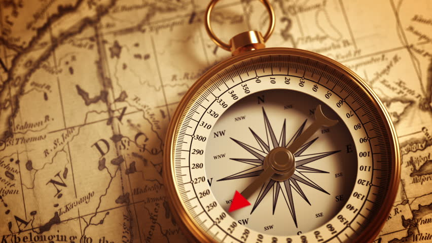 Golden Compass On The Old Map Indicating Direction. 3D Animation.