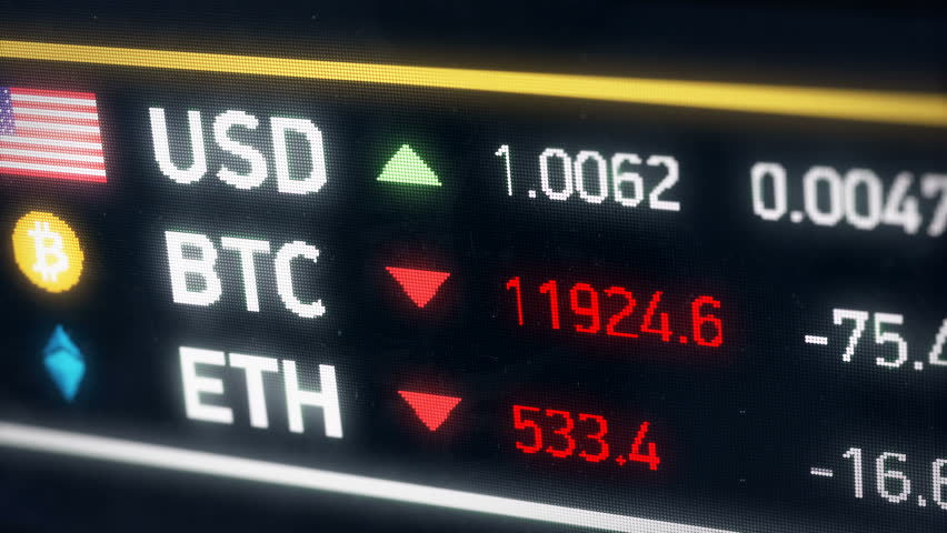 Bitcoin, US dollar, Ether comparison, cryptocurrencies falling, financial crisis. The price of digital currencies falling compared to American dollar  | Shutterstock HD Video #33718411
