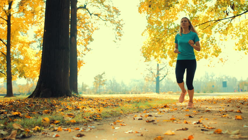 Six Half-Naked Young Men Run In Forest At Autumn Sunny Day Stock Footage Video -8313