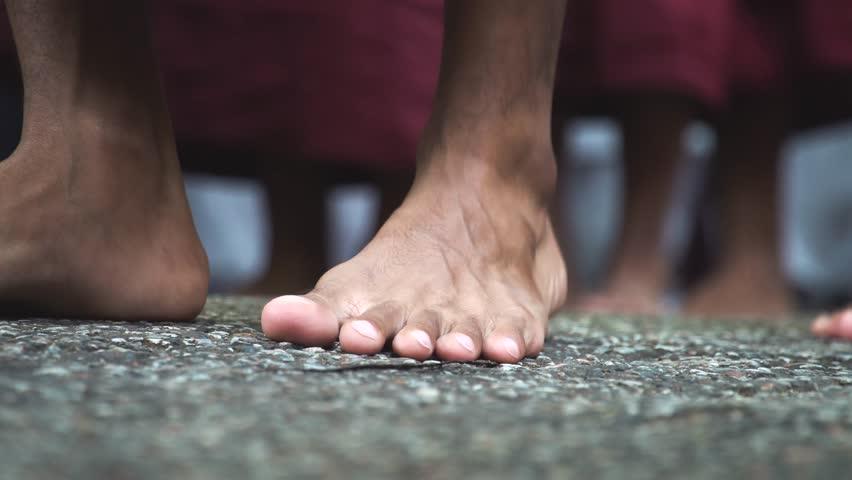 Burmese Monks Walk. Feet Close Up #33745120