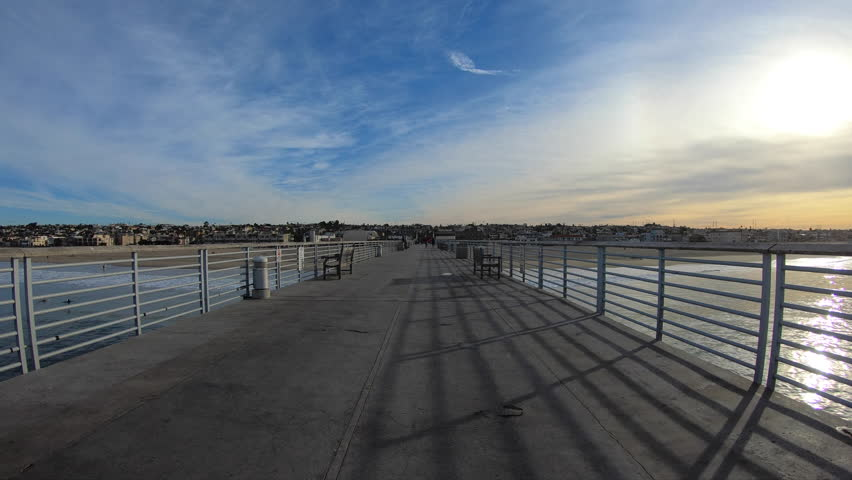 Morning view of Hermosa Beach Pier in Los Angeles County, California.