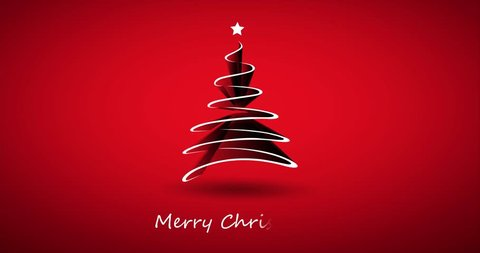 Red Merry Christmas Holiday Video Animation for Your Best Wishes Messages with Christmas Tree Made of Ribbon
