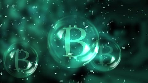 Bitcoins in a soap bubble burst on blured motherboard background. Unstable bitcoin concept. 3d render.