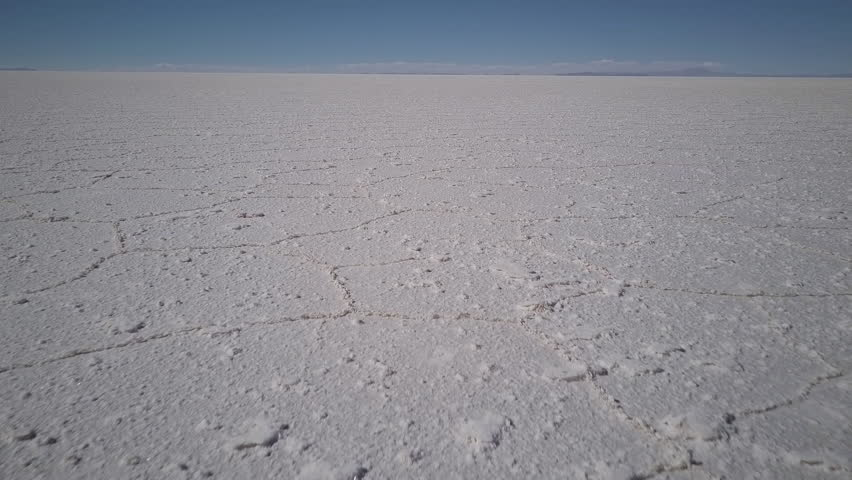 Aerial shot of salt formations in Salar de Uyuni Bolivia