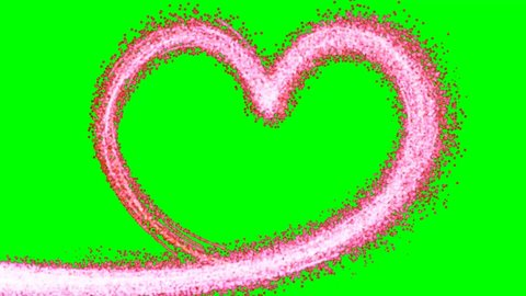 Pink Heart shape sparkle animated on green screen