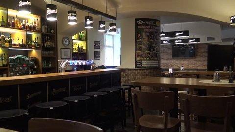 CZECH REPUBLIC, PRAGUE - JANUARY 28, 2016: The interior of an empty bar