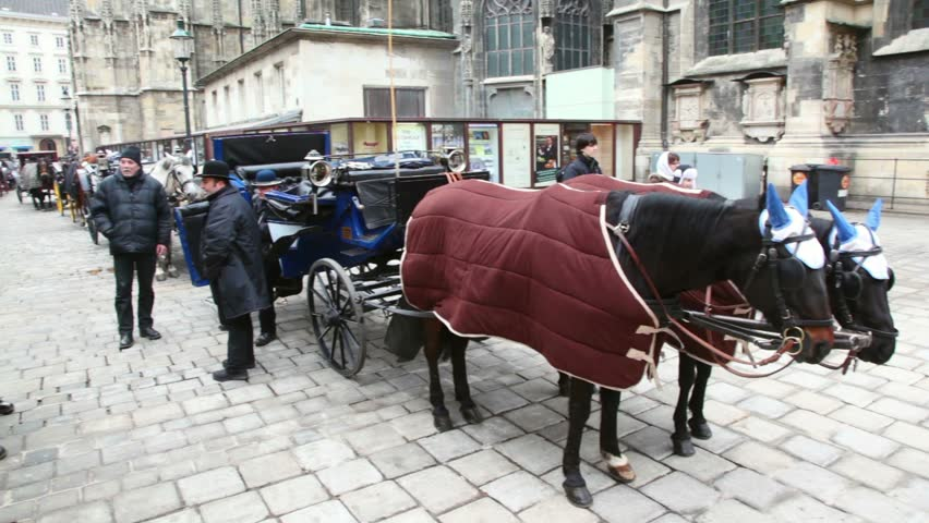 VIENNA- FEB 19: parking of vehicles harnessed by horses on streets Vienna on Feb 19, 2011, Vienna, Austria. Hired city crew on horse draft, used in countries of Western Europe as taxi to car invention
