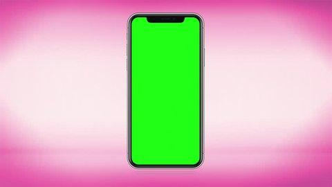 4K Illustration of Modern Fullscreen Smartphone, Mobile Design Pink Gradient