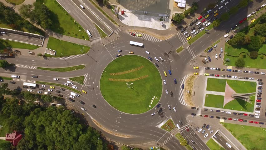 Aerial shot of a traffic circle in Bucharest Romania. Roundabout