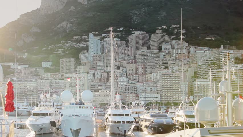 Monaco city town Monte Carlo street palm sunny day