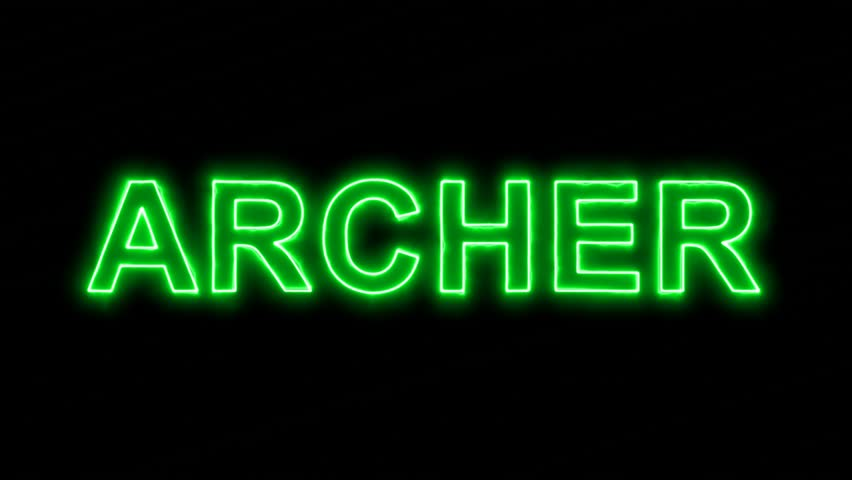 Neon flickering green constellation of a ARCHER in the haze. Alpha channel Premultiplied - Matted with color black | Shutterstock HD Video #33945055