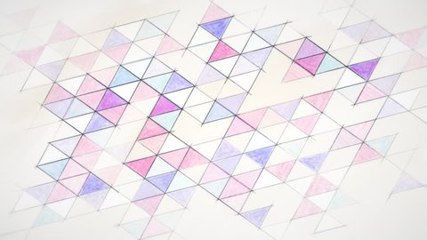 Hand drawn geometric abstract background on paper. Seamless looping