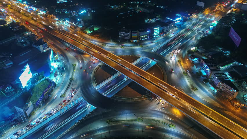 Time lapse , Hyperlapse ,Of traffic on city streets at night. Aerial view and top view of traffic on freeway, 4K. #34015510