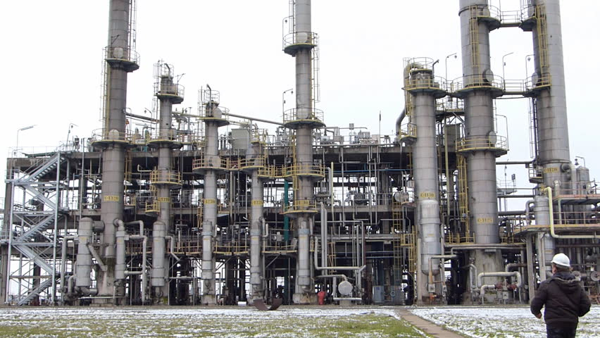 Man working in petrochemical plant