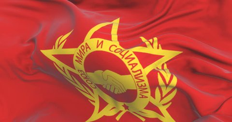 Flag of Warsaw Pact waving at wind with blue sky, loop