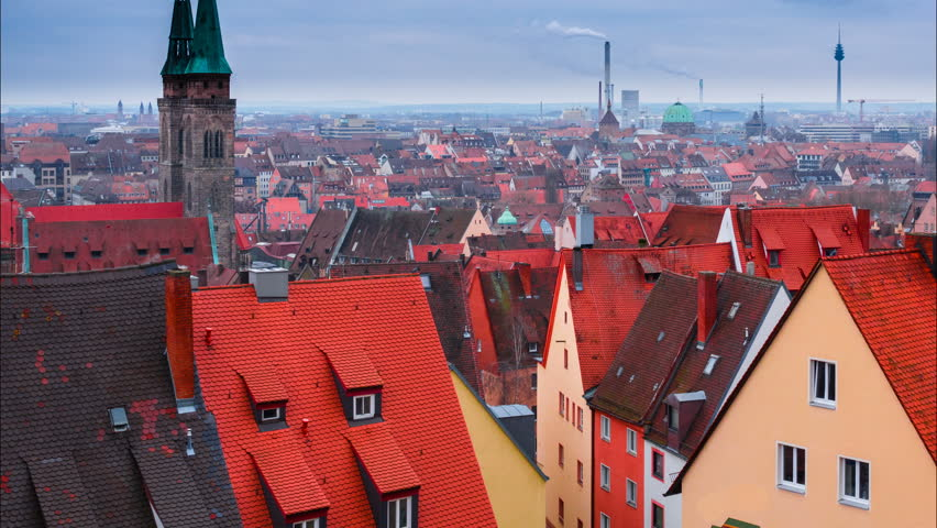 Nuremberg aerial cityscape. Time lapse. Camera moves from the bottom up