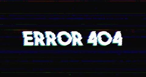 Glitch stile error 404 advertisement banner on glitched black background loop with alpha mask.