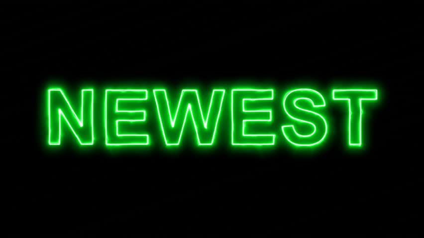 Neon flickering green text NEWEST in the haze. Alpha channel Premultiplied - Matted with color black   Shutterstock HD Video #34188001