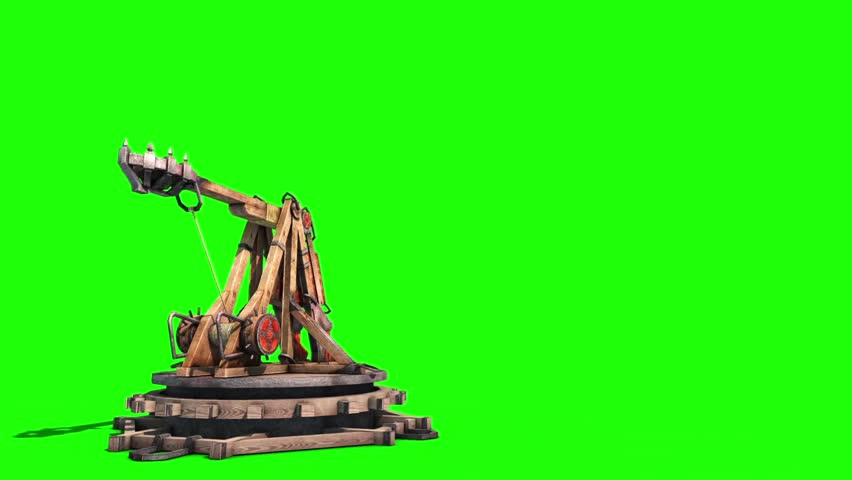 Catapult Wall Destruction Debris Green Screen Smoke Medieval 3D Renderings Animations