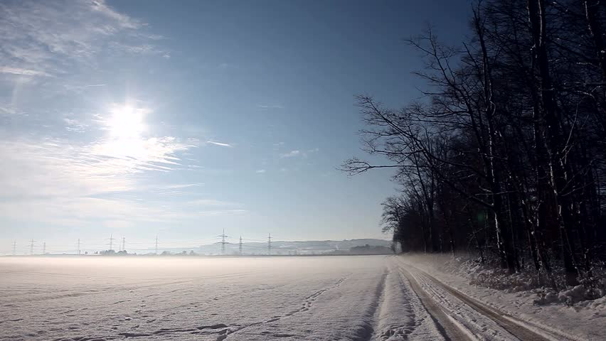 video footage of a nice landscape in Winter with sun and snow in germany, Europe