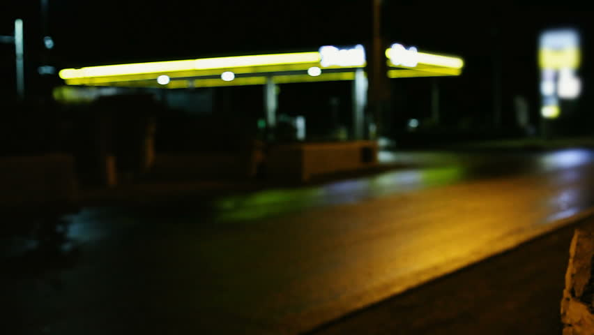 Gas station at night defocused