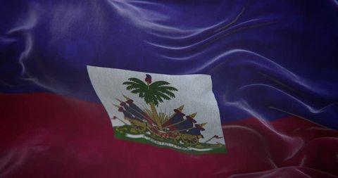 Haiti Flag Slow Motion Loop