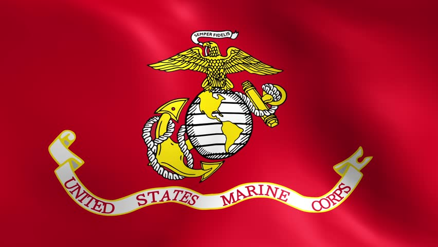 Perfectly seamless loop with the flag of the United States Marine Corps waving in the breeze.