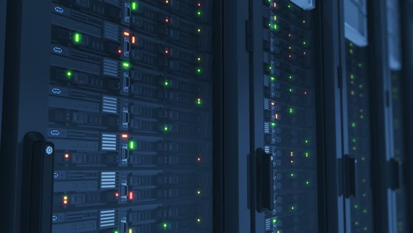 Beautiful Working Servers Close-up in Modern Data Center. Cloud Computing Data Storage Flashing Lights. Heavy 3d Rendering. Looped 3d animation. 4k Ultra HD 3840x2160. | Shutterstock HD Video #34268950