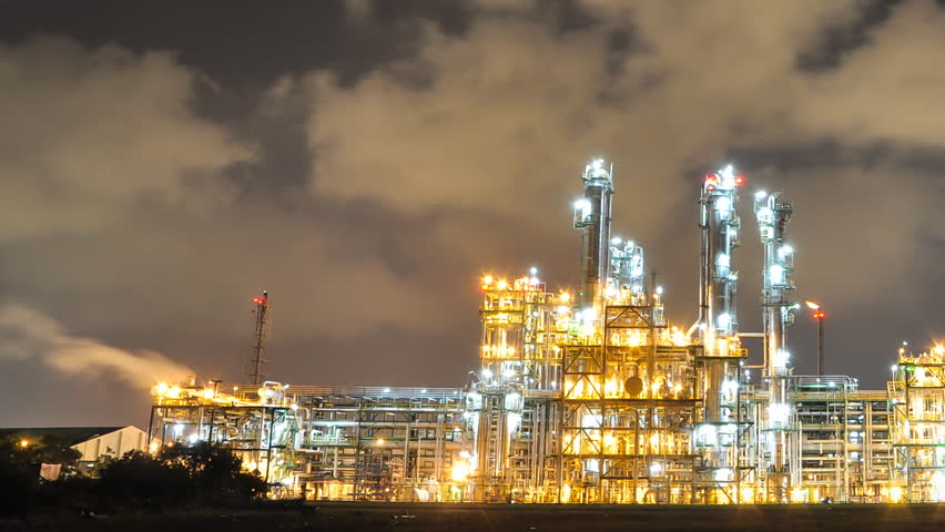 stock video of night scene of oil and chemical