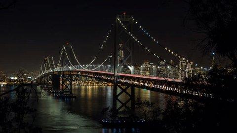 San Francisco Oakland Bay Bridge at Night Timelapse