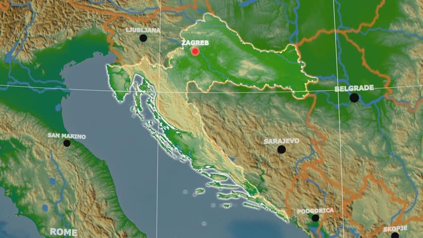 Croatia Map Stock Footage Video Shutterstock