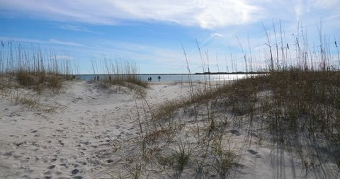 Beach access to the ocean through sand dunes at Wrightsville beach in Wilmington North Carolina