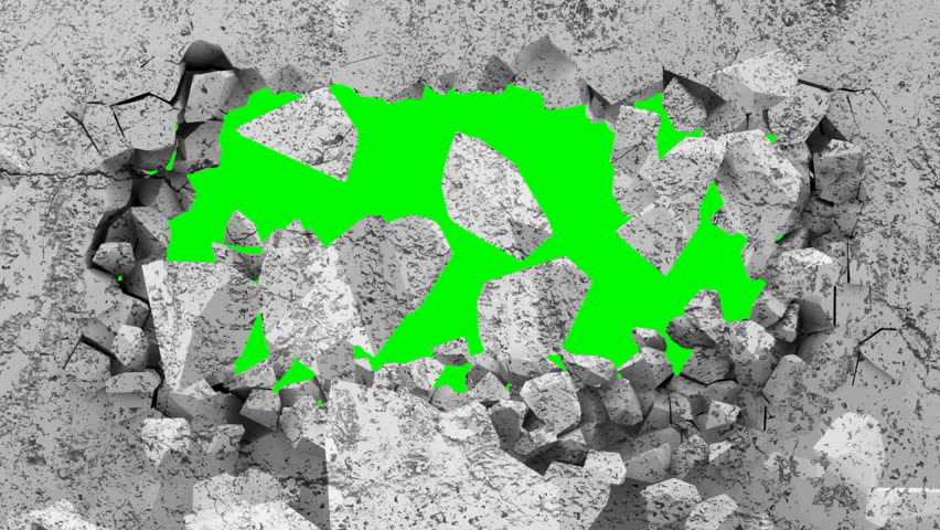 Animation of Grungy Broken Concrete Wall with Green Background
