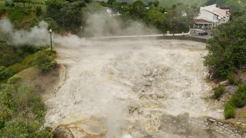 Thermal pool from volcanic lake steaming in Furnas, in San Miguel Island, Azores