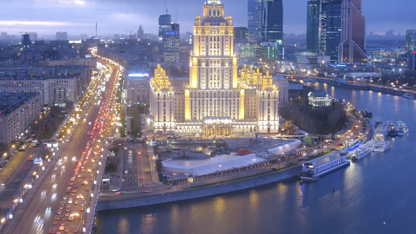 MOSCOW - NOV 14: (Timelapse) Evening panorama of Ukraine Hotel and construction of the underground parking, on Nov 14, 2012 in Moscow, Russia. Ukraine hotel is the former name of Radisson Royal Hotel