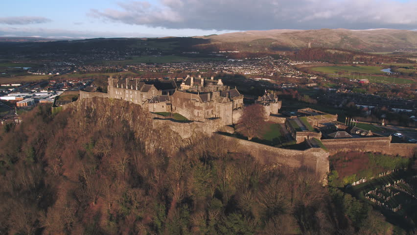 United Kingdom, Scotland, Stirlingshire, aerial view of Stirling Castle and the Wallace Monument