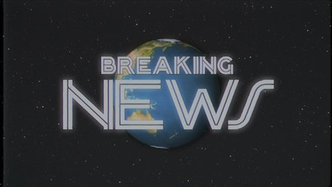 shiny retro BREAKING NEWS text with earth globe old vhs tape retro intro effect tv screen animation background seamless loop New quality universal vintage colorful motivation video