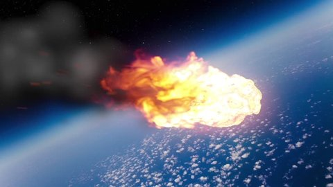 Asteroid Meteor Entering Atmosphere Space Fire Burn Universe 3D Renderings Animations