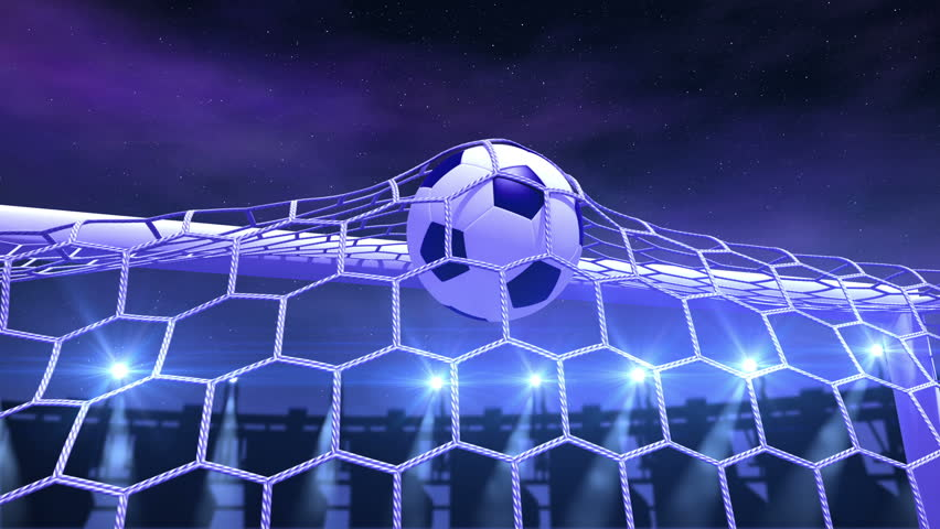 Soccer ball slowly flies in the goal against night stadium background, 3d animation