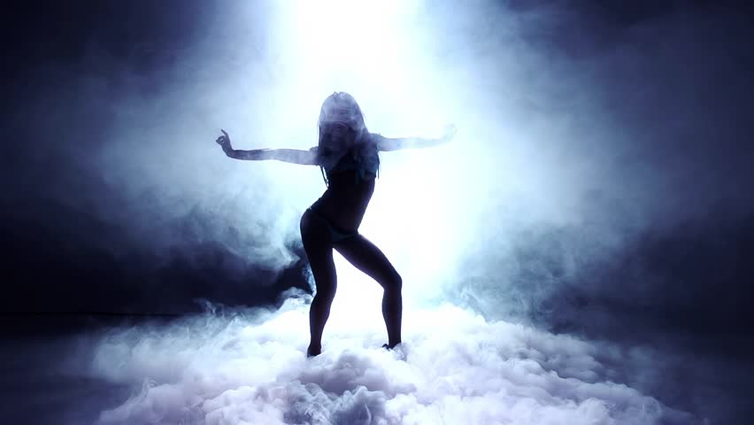 Artistic Dancer Into Dry Ice - Super Slow Motion Silhouette  | Shutterstock HD Video #3437105