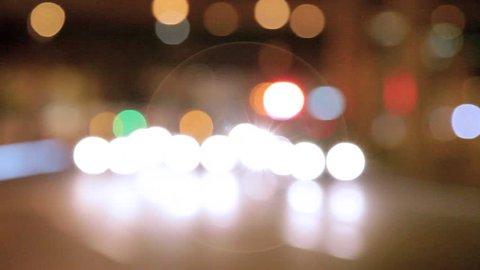 Ambulance driving at night.Siren sound