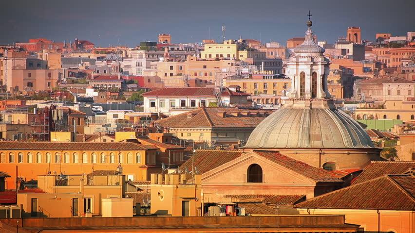 Beautiful shot of the Rome skyline