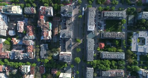 Aerial top down view of street traffic of the city center.  Urban Landscape. 4K video. Varna, Bulgaria