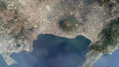 City of Naples and Mount Vesuvius (Italy) from space.  Elements of this image furnished by NASA.