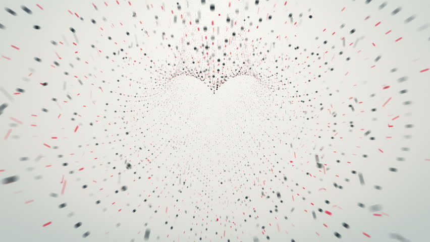 Abstract background with flying into digital shape heart tunnel from flickering particles, digits 0 and 1 as binary code and plexus of network. Shape heart. Animation of seamless loop. | Shutterstock HD Video #34430140
