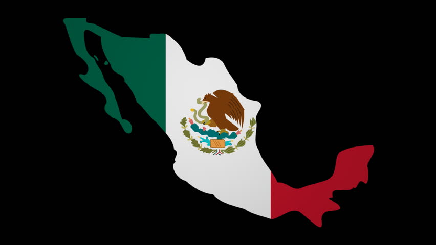Mexico Map With Rippling Flag Animation Stock Footage Video - Mexico map hd