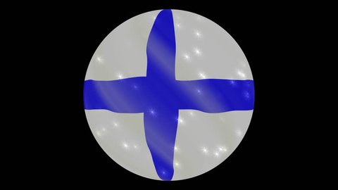 Finland flag in a round ball rotates. Flicker and shine. Animation loop. Element for web site, presentation, import into video.
