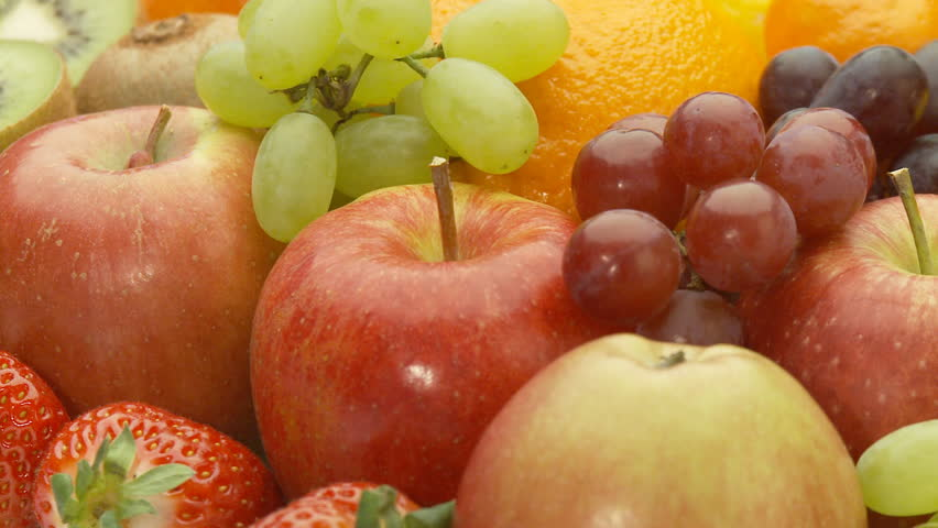close view of different fresh fruits, seamless loop part I of II #344851