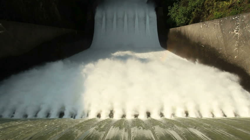 High Angle, Cleveland Dam Spillway. Looking over the spillway of the Cleveland Dam in North Vancouver, British Columbia, Canada.